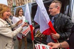 Tijdens Vlagdag van de Republiek van Pools - is nationaal die festival door het Akte van 20 Februari 2004 wordt geïntroduceerd Royalty-vrije Stock Fotografie