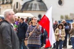 Tijdens Vlagdag van de Republiek van Pools - is nationaal die festival door het Akte van 20 Februari 2004 wordt geïntroduceerd Royalty-vrije Stock Foto