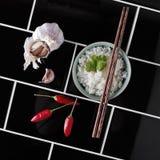Tijdgenoot hoekige overheadkosten van Aziatische rijst en ingrediënten Stock Foto's