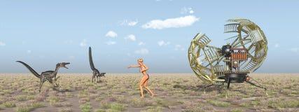 Tijdmachine, vrouwelijke tijdreiziger en dinosaurussen vector illustratie