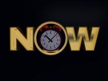 Tijdnow concept op donkere achtergrond 3d geef terug Stock Afbeeldingen