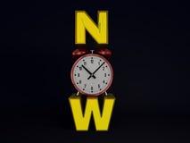 Tijdnow concept op donkere achtergrond 3d geef terug Stock Afbeelding