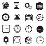 Tijdopnemer, horloge en Klokpictogrammen Stock Foto