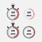 Tijdopnemer 28 seconden op grijze achtergrond Stock Foto