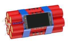 Tijdopnemerbom met telefoon stock illustratie