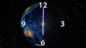 Tijdpassage over roterende Aardeachtergrond stock video
