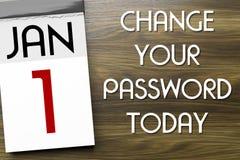 Tijdschema eerste van Januari-verandering uw wachtwoord royalty-vrije illustratie