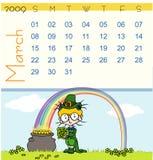 Tijdschema - maart 2009 Royalty-vrije Stock Afbeeldingen