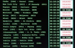 tijdschema van de luchthaven met alle internationale vertraagde vluchten royalty-vrije stock afbeeldingen