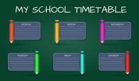 Tijdschema van de malplaatje het dagelijkse school stock illustratie