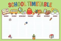 Tijdschema voor school stock illustratie