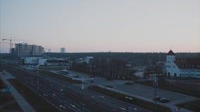 Tijdtijdspanne: de dageraad in de stad stock videobeelden