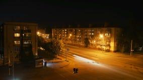 Tijdtijdspanne: de kruispunten van de nachtstad stock videobeelden