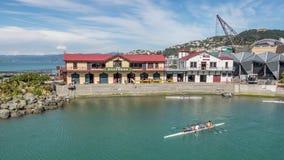 Tijdtijdspanne, het roeien club, Wellington New Zealand stock video