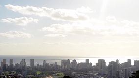 Tijdtijdspanne over Honolulu, Hawaï stock videobeelden