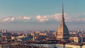 Tijdtijdspanne Turijn met de Mol Antonelliana Italië stock videobeelden