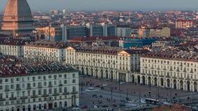 Tijdtijdspanne Turijn met de Mol Antonelliana Italië stock video