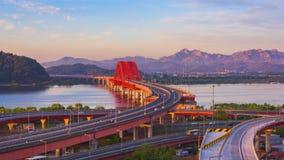 Tijdtijdspanne van Banghwa-brug in Seoel, Korea stock footage