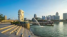 Tijdtijdspanne van cityscape van Singapore in Singapore timelapse stock footage
