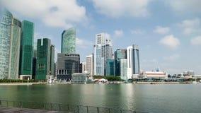 Tijdtijdspanne van Cityscape van Singapore op Marina Bay stock footage