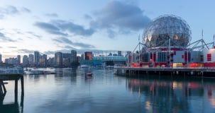 Tijdtijdspanne van de Valse Kreek en horizon van Vancouver, met inbegrip van Wereld van Wetenschapskoepel stock videobeelden