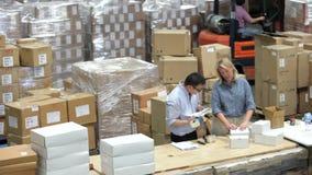 Tijdtijdspanne van de Verpakking van en de Verzending van Goederen wordt geschoten die stock footage