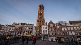 Tijdtijdspanne van Dom in Utrecht stock video