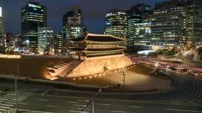 Tijdtijdspanne van Grote het Zuidenpoort Seoel Zuid-Korea van Namdaemun stock videobeelden