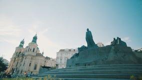 Tijdtijdspanne van het centrale vierkant van Praag, Tsjechische Republiek stock footage