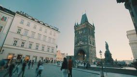 Tijdtijdspanne van het centrale vierkant van Praag, Tsjechische Republiek stock videobeelden