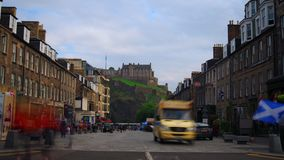 Tijdtijdspanne van het Kasteel van Edinburgh stock footage