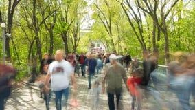 Tijdtijdspanne van menigte van mensen die bij u met vage beelden op de achtergrond van aard lopen stock video