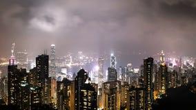 Tijdtijdspanne van Nachtmening Hong Kong van Victoria Peak 4k klem stock video