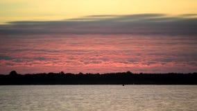 Tijdtijdspanne van roze kleurrijke wolken bij dageraad over een rivier met donkere boomsilhouetten in bos op de andere rivierbank stock videobeelden