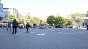 Tijdtijdspanne van Union Square in de herfst stock footage