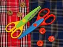 Tijeras, botones, tejido, célula, Fotografía de archivo