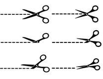 Tijeras con las líneas de corte Imagenes de archivo