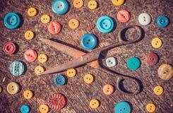 Tijeras de costura del vintage Foto de archivo libre de regalías
