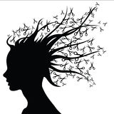 Tijeras de la silueta de la mujer como pelo Imagen de archivo