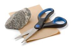 Tijeras de papel de la roca Imagenes de archivo