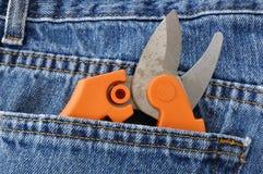 Tijeras de podar en bolsillo de los tejanos Foto de archivo libre de regalías