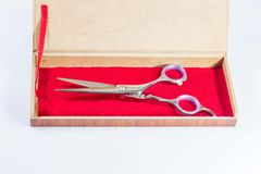 Tijeras en cajas del terciopelo Foto de archivo libre de regalías