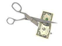 Tijeras que cortan el dólar Imagenes de archivo