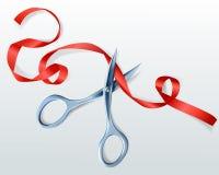 Tijeras que cortan el ejemplo rojo del vector de la cinta ilustración del vector