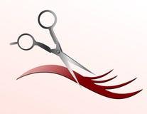Tijeras que cortan el hilo del pelo Fotos de archivo