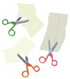 Tijeras y cupones del papel fijadas Imagen de archivo libre de regalías