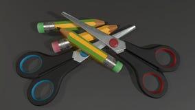 Tijeras y lápices coloridos en fondo oscuro fotos de archivo