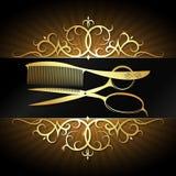 Tijeras y peine con el marco del ornamento del oro ilustración del vector
