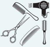 Tijeras y peine para el pelo Foto de archivo libre de regalías