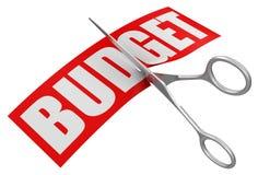 Tijeras y presupuesto (trayectoria de recortes incluida) Fotos de archivo